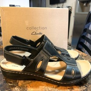 Clarks Black Leather Cutwork  Lightweight Sandal